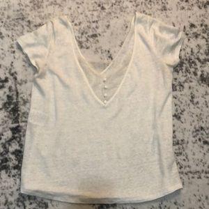 Sezane Size S Ecru Lace Button Back T-shirt